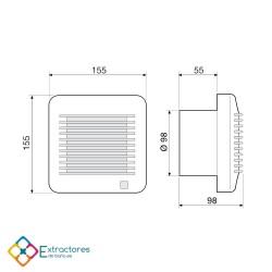 Extractor de baño S&P Edm-100 S - Cotas