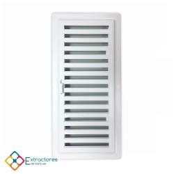 Rejilla ventilación baño PVC 9.8x22.5 cm con marco y cierre - Frontal