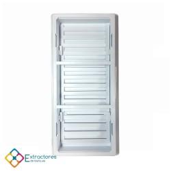 Rejilla ventilación baño PVC 9.8x22.5 cm con marco y cierre - Trasera