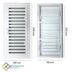 Rejilla ventilación baño PVC 9.8x22.5 cm con marco y cierre - Cotas