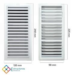 Rejilla ventilación baño PVC 9.8x22.5 cm con marco - Cotas