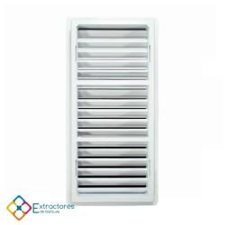 Rejilla ventilación baño PVC 9.8x22.5 cm con marco - Trasera