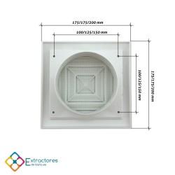 Rejilla de plástico blanca serie ERC Ø100 - Cotas