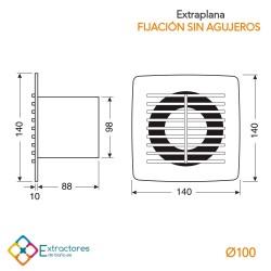 Extractor integrable extraplano fijación sin agujeros MU 4P- Cotas