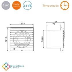 Extractor de baño temporizado S&P Edm-80 NT - Cotas